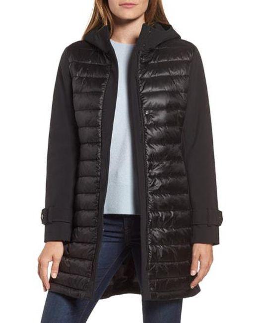 Gallery - Black Hooded Soft Shell Puffer Hybrid Coat - Lyst