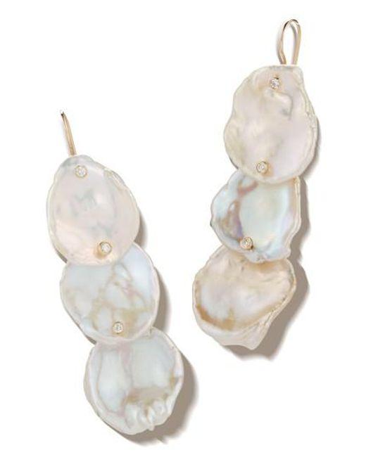 Mizuki Metallic 3 Tier Flat Pearl Diamond Drop Earrings Lyst