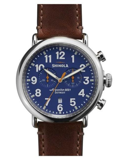 Shinola | Brown The Runwell Chrono Leather Strap Watch for Men | Lyst