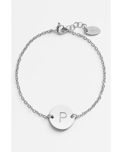Nase Metallic Sterling Silver Initial Disc Bracelet Lyst