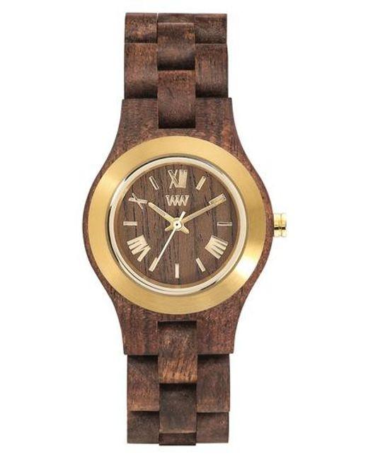 WeWood   Metallic Criss Wood Bracelet Watch   Lyst