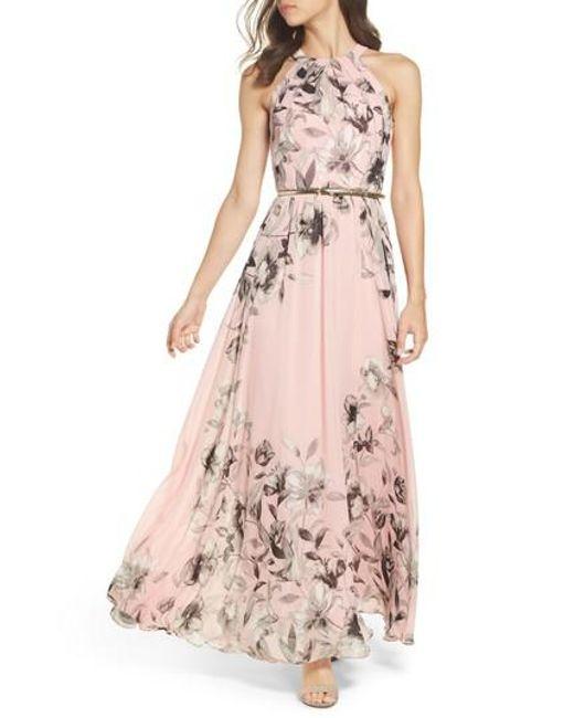 Eliza J - Pink Belted Chiffon Maxi Dress - Lyst