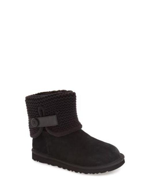 Ugg | Black Ugg Shaina Knit Cuff Bootie | Lyst