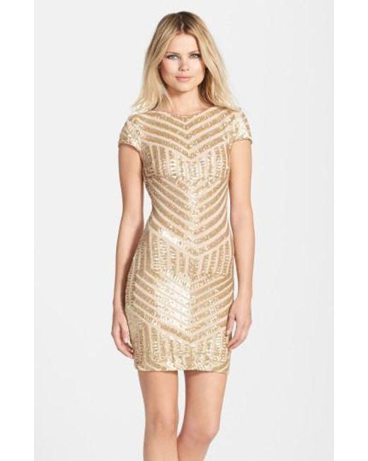 Dress the Population | Metallic 'Tabitha' Geometric Sequin Minidress | Lyst