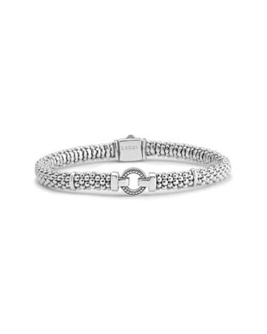 Lagos | Metallic Enso Boxed Circle Station Caviar Rope Bracelet | Lyst