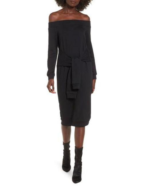 Soprano | Black Tie Front Off The Shoulder Sweatshirt Dress | Lyst