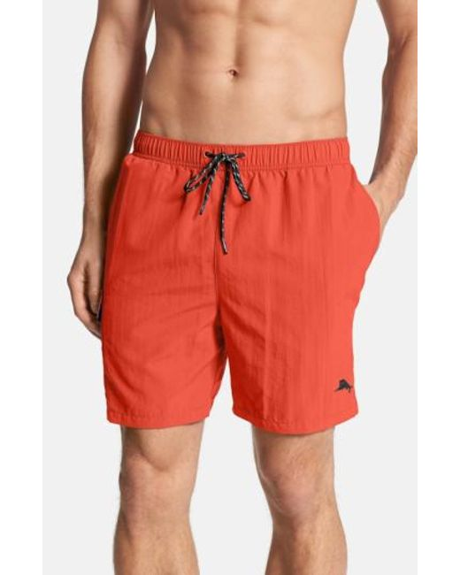 Tommy Bahama | Red 'happy Go Cargo' Swim Trunks for Men | Lyst