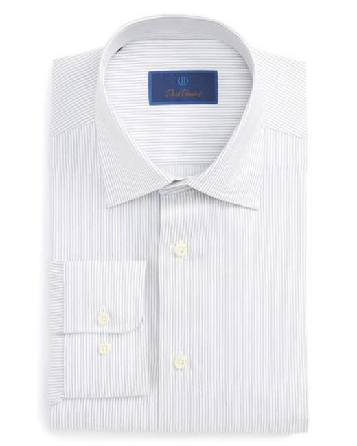 David Donahue | Gray Regular Fit Stripe Dress Shirt for Men | Lyst