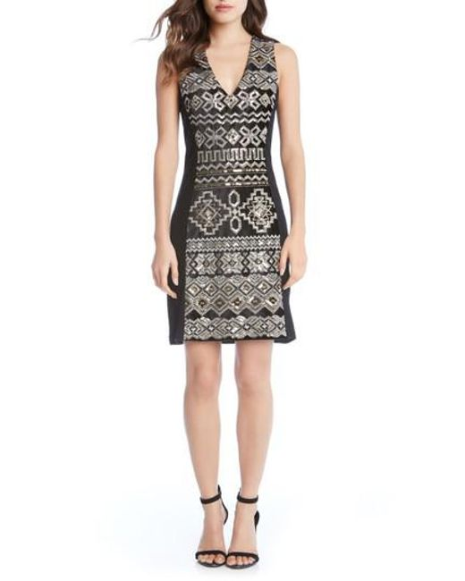 Karen Kane - Black Sequin Sheath Dress - Lyst