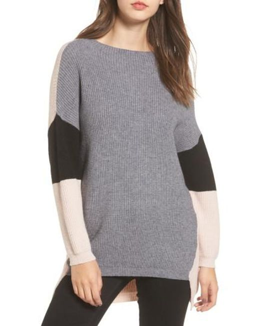 Dreamers by debut Colorblock Tunic Sweater in Gray | Lyst