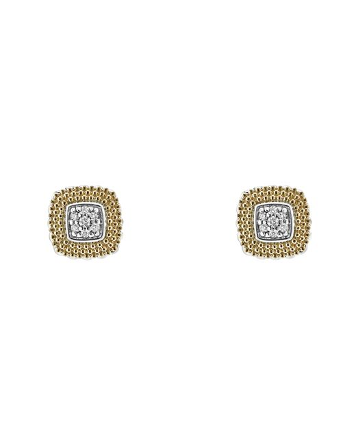 Lagos - Metallic 18k Gold And Sterling Silver Diamond Lux Square Stud Earrings - Lyst