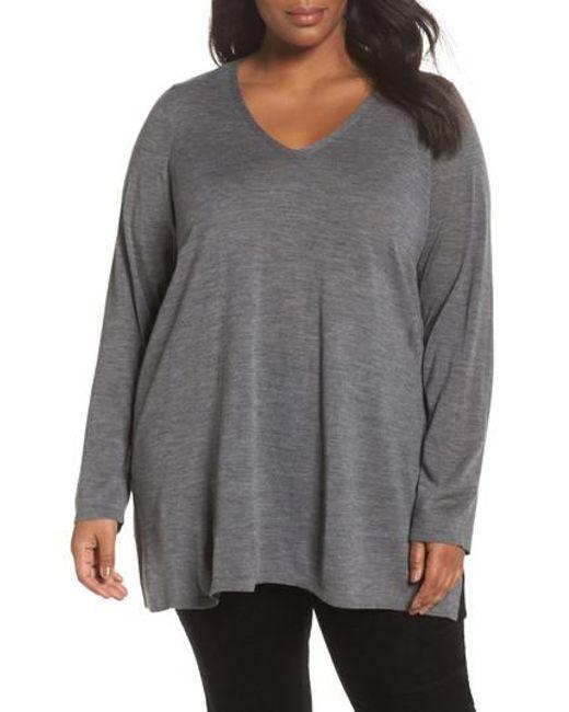 Eileen Fisher | Gray Merino Wool Tunic Sweater | Lyst