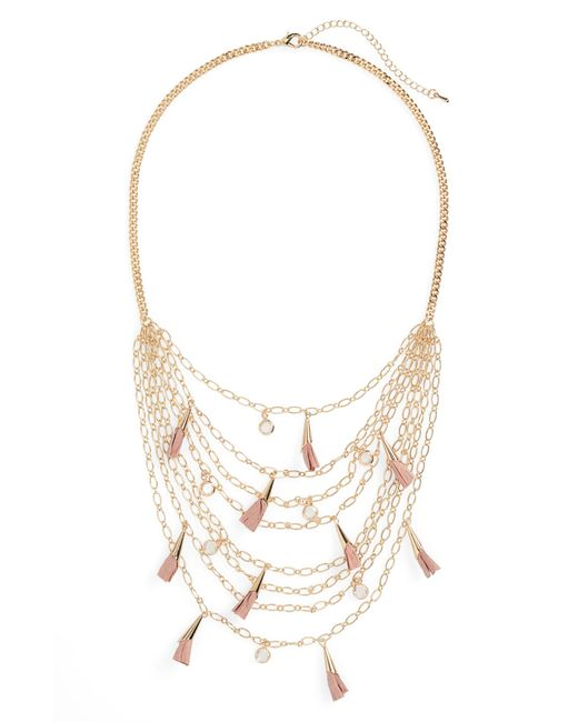 Panacea - Metallic Multistrand Tassel Necklace - Lyst