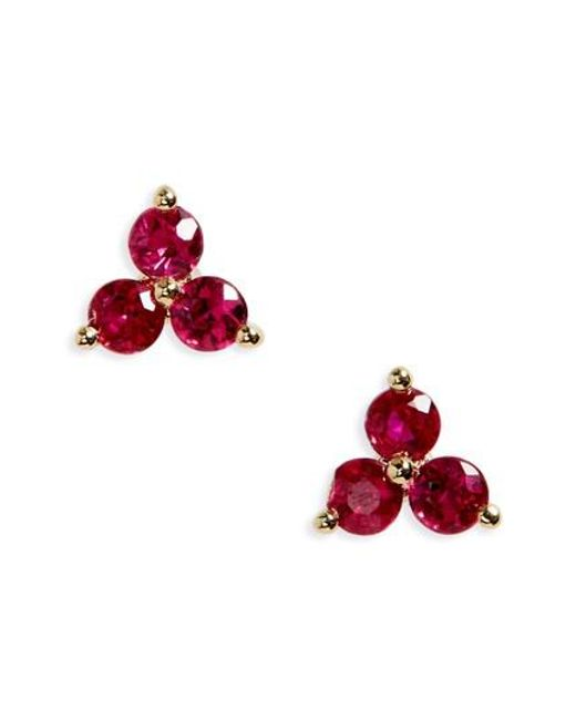 EF Collection | Red Trio Precious Stone Stud Earrings | Lyst