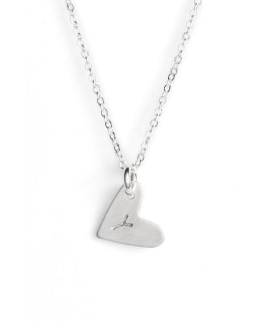 Nashelle | Metallic Sterling Silver Initial Heart Pendant Necklace | Lyst