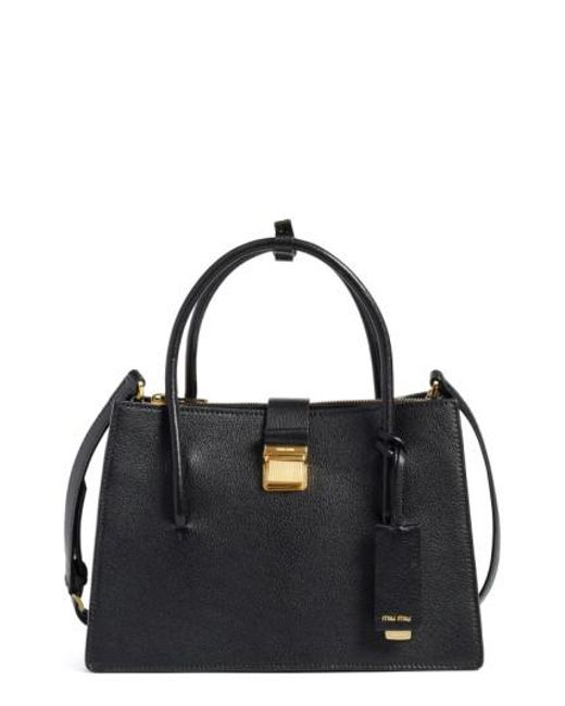 Miu Miu | Black 'small Madras' Goatskin Leather Satchel | Lyst
