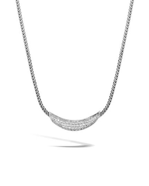 John Hardy - Metallic Classic Silver Chain Diamond Pave Necklace - Lyst
