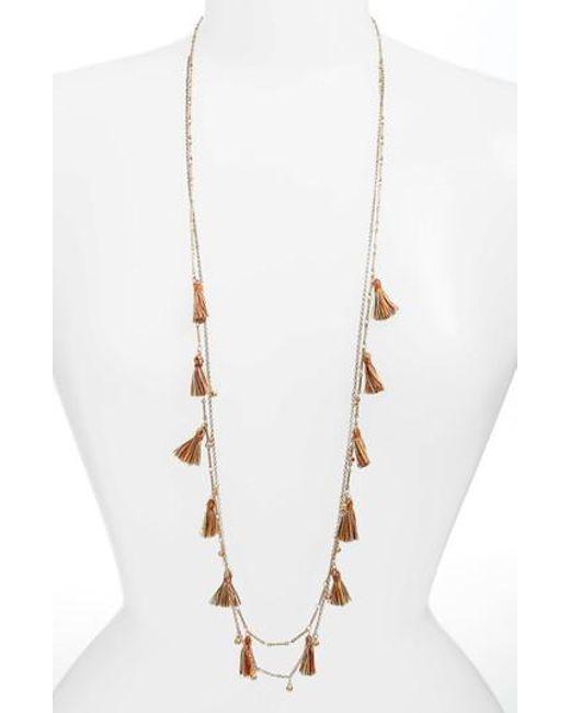Serefina | Metallic Long Tassel Necklace | Lyst