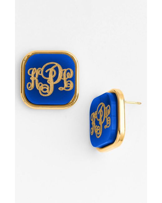 Moon & Lola - Blue 'vineyard' Personalized Monogram Stud Earrings - Lyst