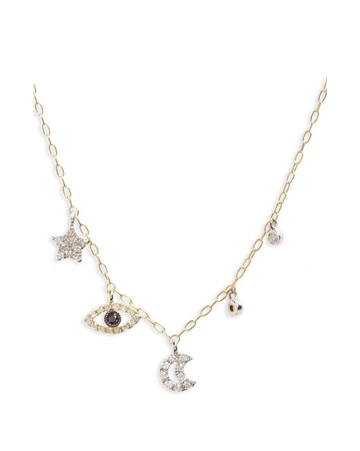 Meira T - Metallic Diamond Charm Necklace - Lyst