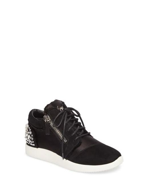 Sale Cost Discount Fashionable Giuseppe Zanotti Single Frayed Side-Zip Sneaker(Women's) -Cam Nero Silk/Suede Sast For Sale Cheap Get Authentic PAynV