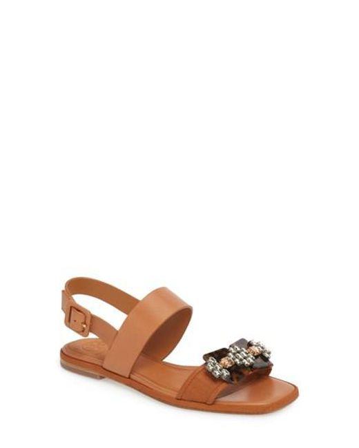 Tory Burch - Brown Delaney Embellished Double Strap Sandal - Lyst
