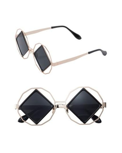 SUNNYSIDE LA | Blue Garnet 58mm Geometric Sunglasses | Lyst
