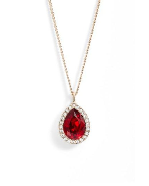 Givenchy | Red Pave Pear Pendant Necklace | Lyst