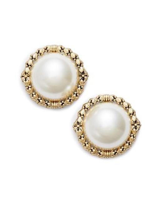 Jenny Packham | Metallic Imitation Pearl Stud Earrings | Lyst