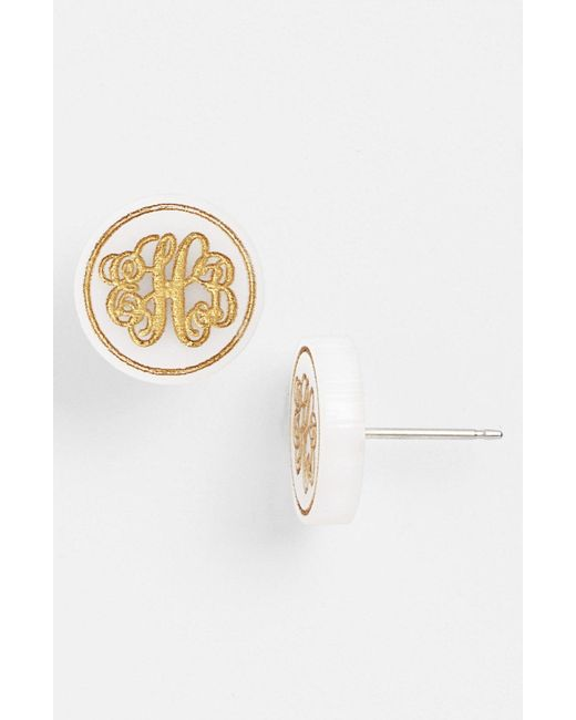 Moon & Lola - White 'chelsea' Small Personalized Monogram Stud Earrings (nordstrom Exclusive) - Lyst