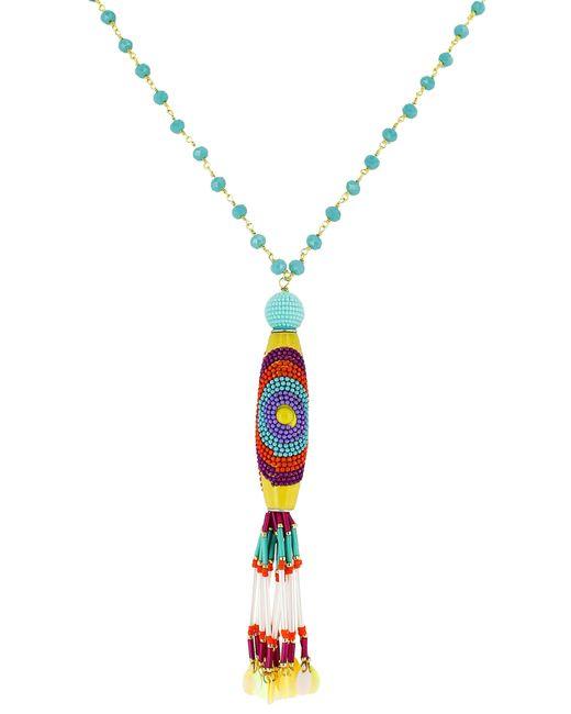 Panacea - Metallic Crystal Multi Bead Tassel Necklace - Lyst