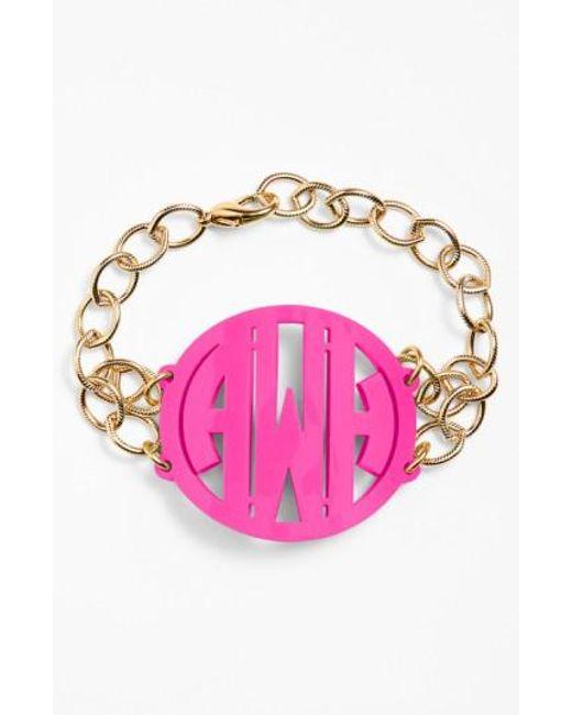 Moon & Lola   Metallic 'annabel' Large Personalized Monogram Bracelet   Lyst