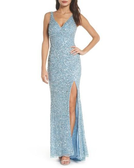 Mac Duggal - Blue V-neck Sequin Gown - Lyst
