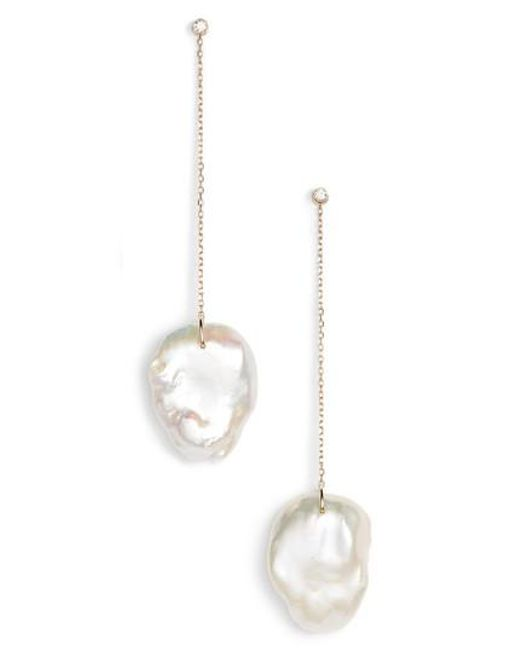 Mizuki Metallic Flat Pearl Diamond Linear Drop Earrings Lyst