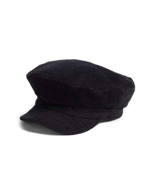 722f8ae0888 Brixton Fiddler Corduroy Baker Boy Cap in Black - Lyst