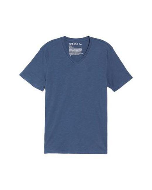 The Rail   Blue Slub Cotton V-neck T-shirt for Men   Lyst