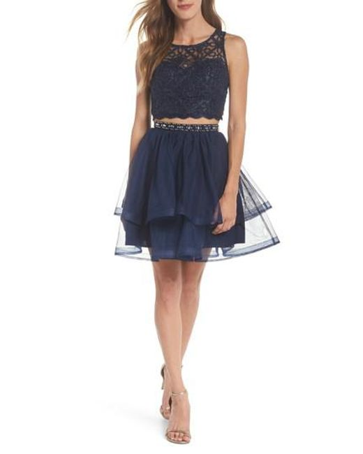Sequin Hearts - Blue Chain Lace Mesh Two-piece Dress - Lyst