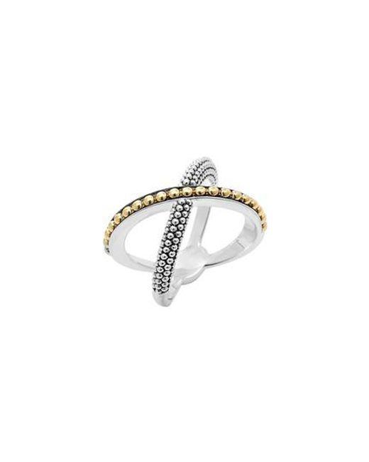 Lagos - Metallic 'enso' Caviar Crossover Ring - Lyst