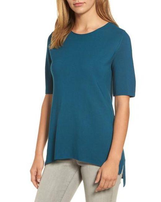 Eileen Fisher | Blue Tencel Knit Top | Lyst