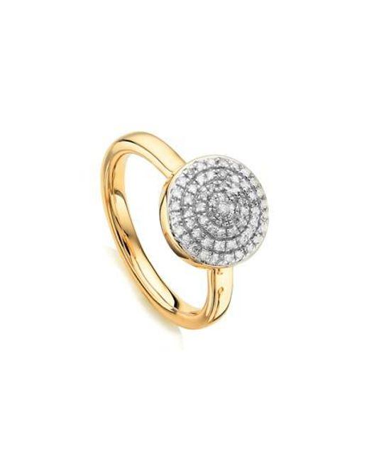 Monica Vinader - Metallic Fiji Large Diamond Button Stack Ring - Lyst