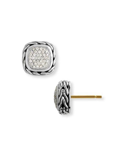 John Hardy - Metallic Classic Chain Small Square Pavé Diamond Earrings - Lyst