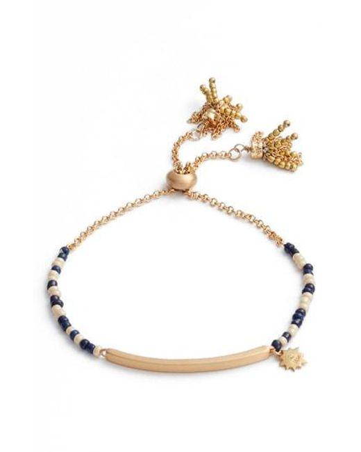 Rebecca Minkoff - Metallic Sole Beaded Adjustable Bracelet - Lyst