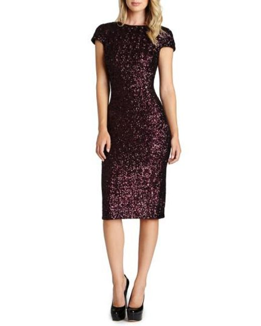 Dress the Population | Purple 'marcella' Open Back Sequin Body-con Dress | Lyst