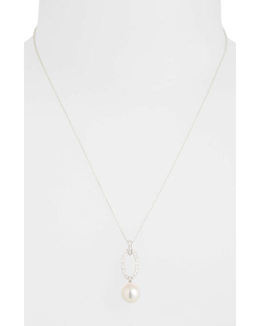 Mikimoto - White Diamond & Akoya Cultured Pearl Pendant Necklace - Lyst