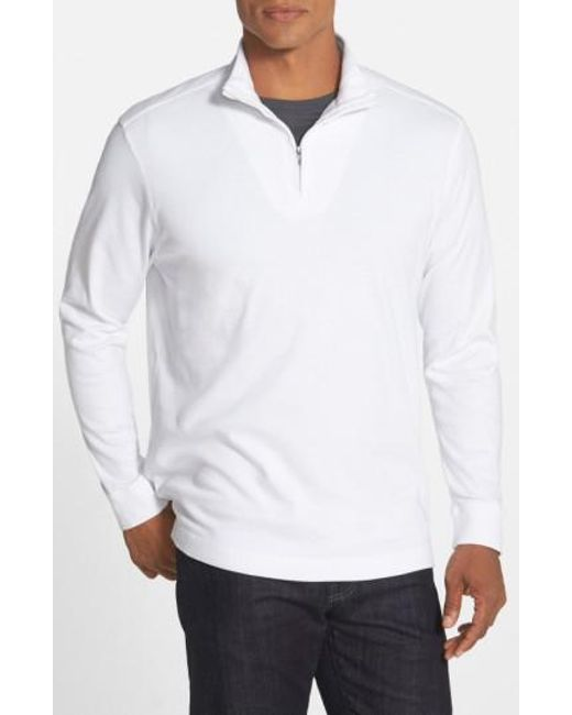 Cutter & Buck | White 'belfair' Quarter Zip Pima Cotton Pullover for Men | Lyst