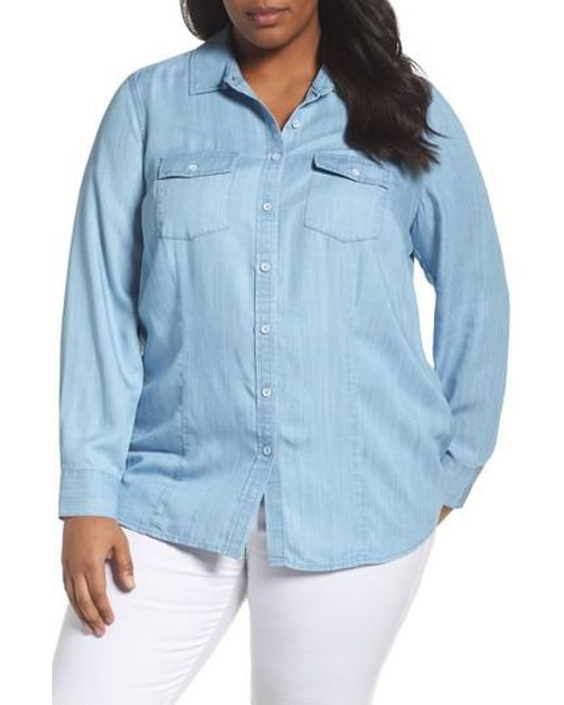 Foxcroft | Blue Dylan Woven Tencel Shirt | Lyst