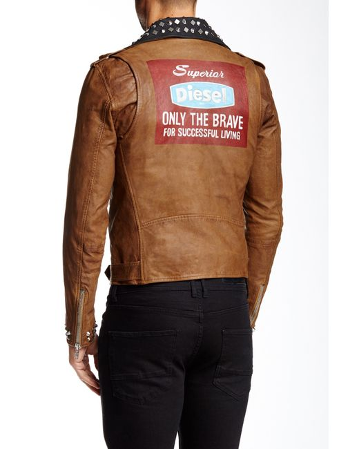 Diesel Ulisses Genuine Leather Studded Jacket In Brown For