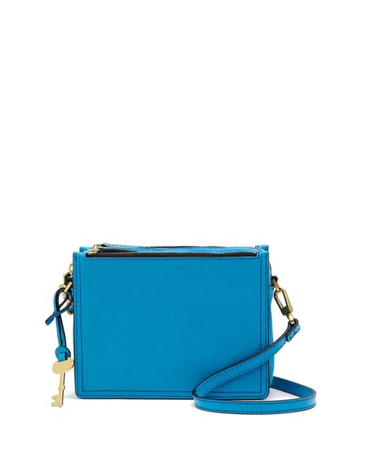 Fossil - Blue Campbell Leather Crossbody Bag - Lyst
