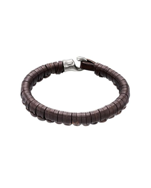 Uno De 50 - Brown Hook Plaited Leather Bracelet - Lyst