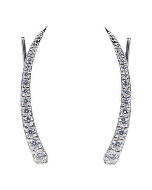 CZ by Kenneth Jay Lane - Metallic Linear Pave Cz Hook Earrings - Lyst